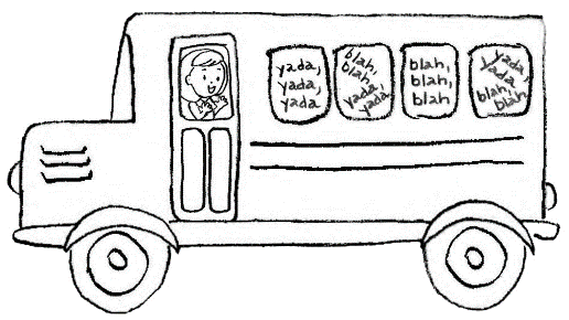 A keyword mnemonic picture of a bus for the word Filibuster