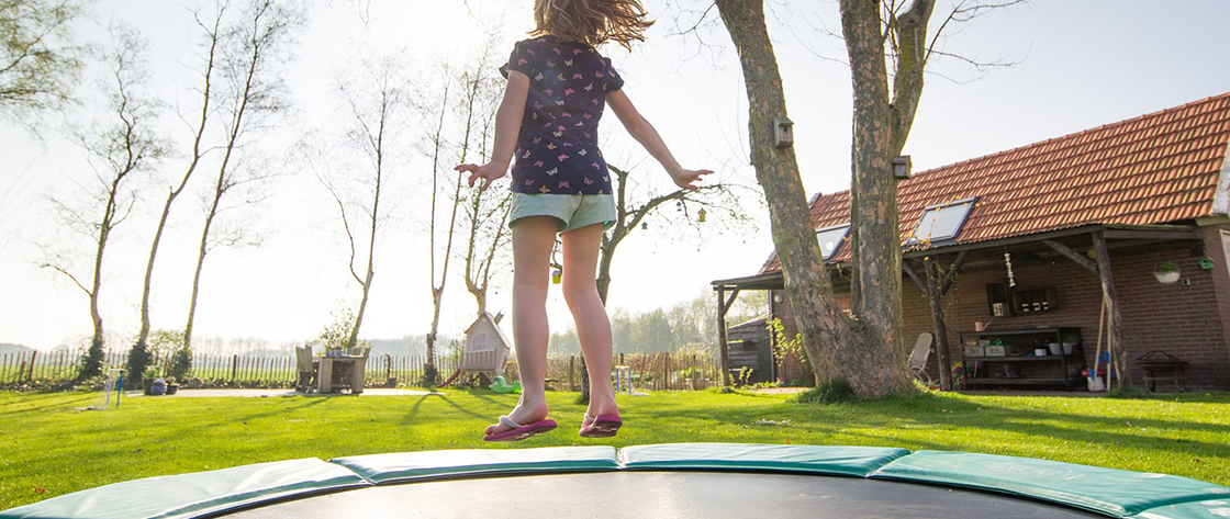 Girl on trampoline