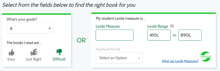 Screenshot of estimate of Lexile measure