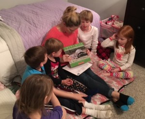 Family reading and asking questions